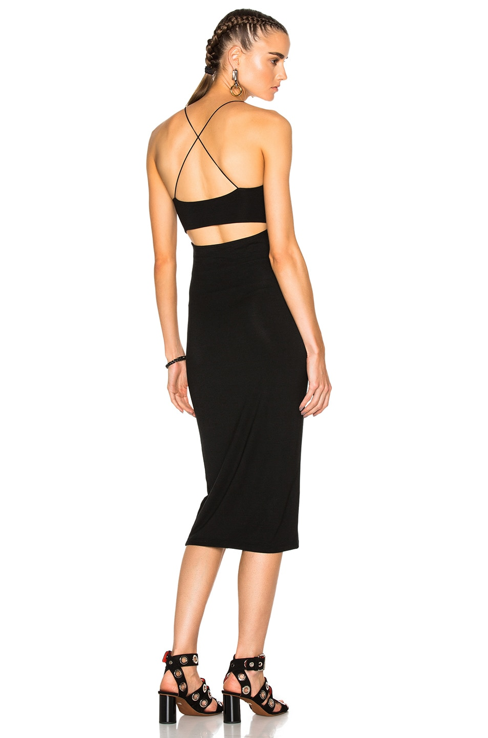 Image 1 of T by Alexander Wang Modal Spandex Strappy Tank Dress in Black