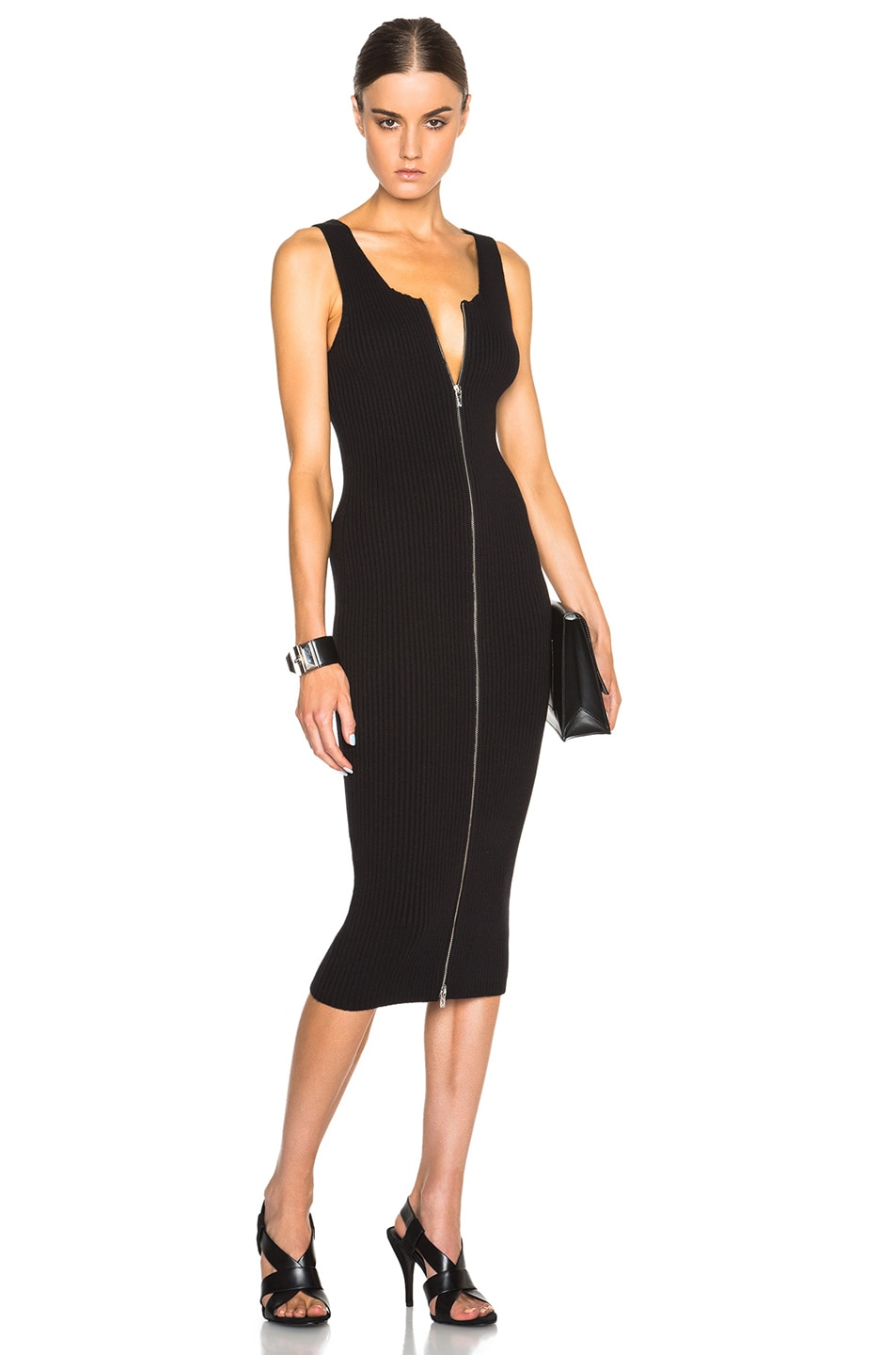 e91477241cdc Image 1 of T by Alexander Wang Rib Knit Zip Tank Dress in Black