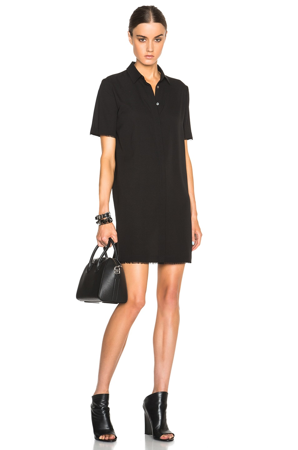 T By Alexander Wang Silk Georgette Shirt Dress In Black Fwrd