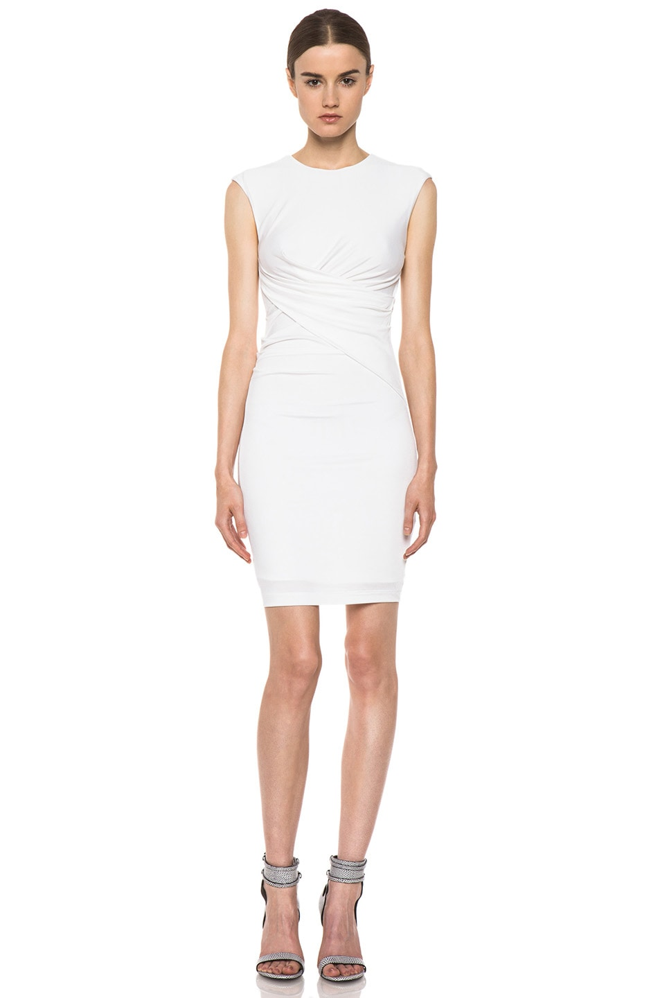 Image 1 of T by Alexander Wang Pique Mesh Sleeveless Twist Dress in Ivory