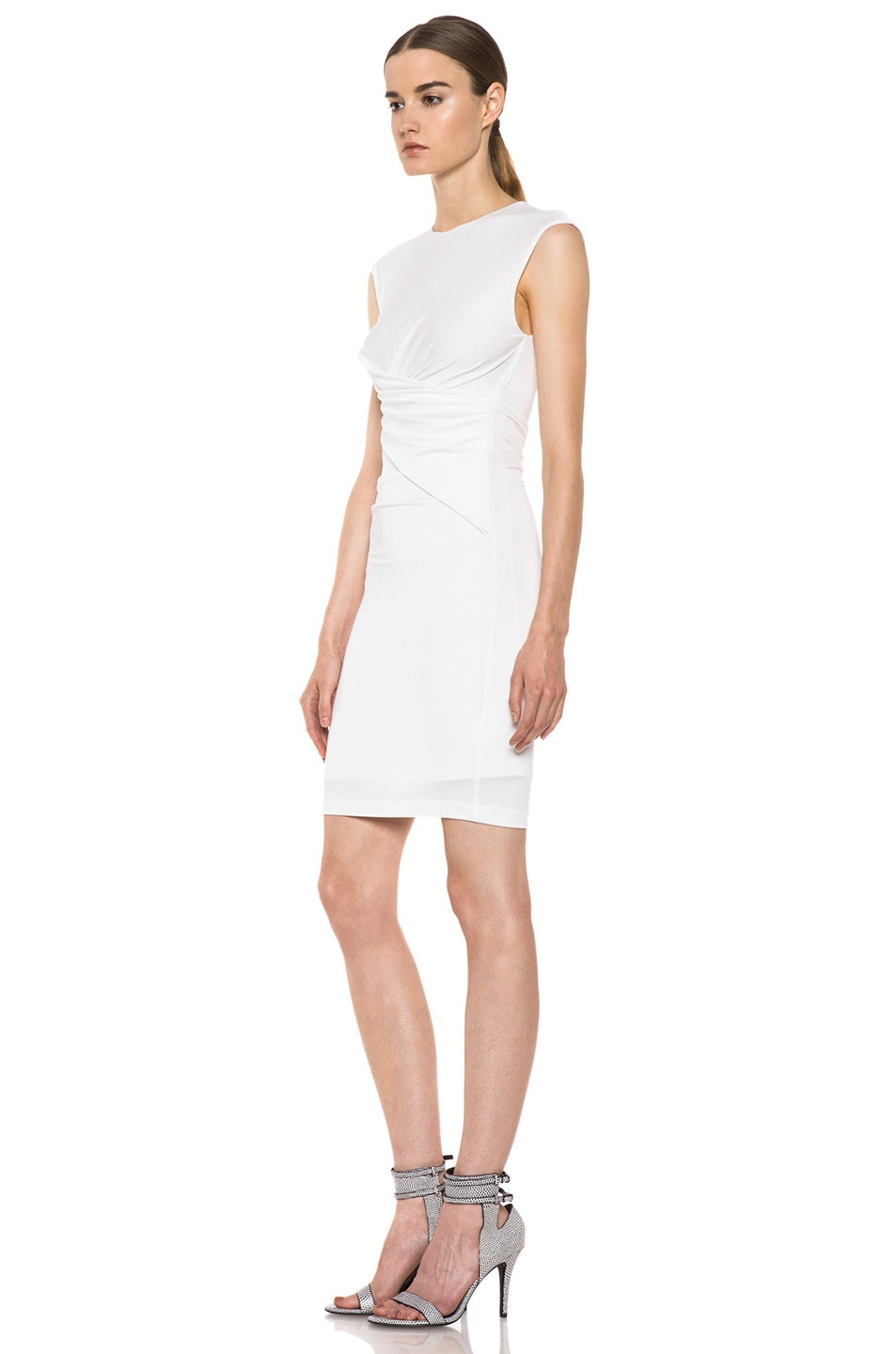 Image 2 of T by Alexander Wang Pique Mesh Sleeveless Twist Dress in Ivory