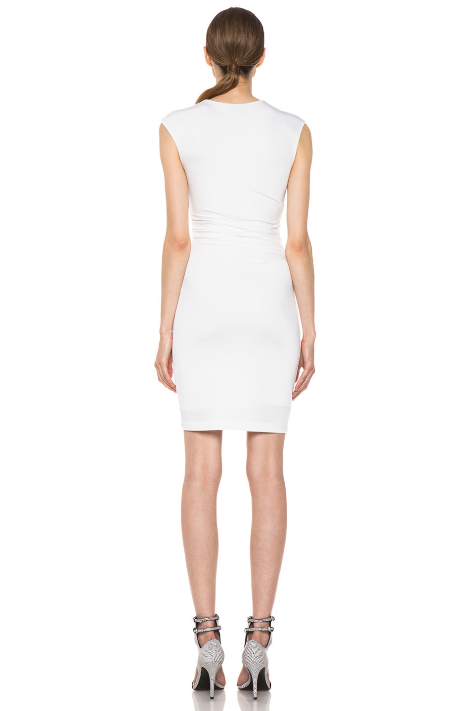 Image 4 of T by Alexander Wang Pique Mesh Sleeveless Twist Dress in Ivory