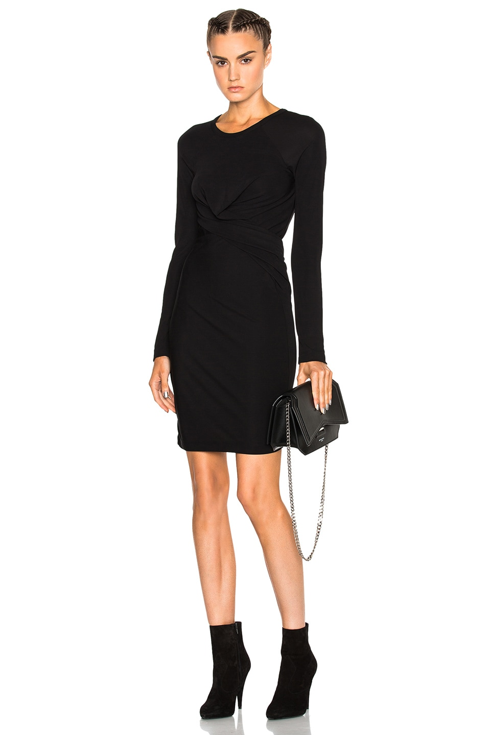 fc268a71e66 T by Alexander Wang Front Drape Dress in Black | FWRD