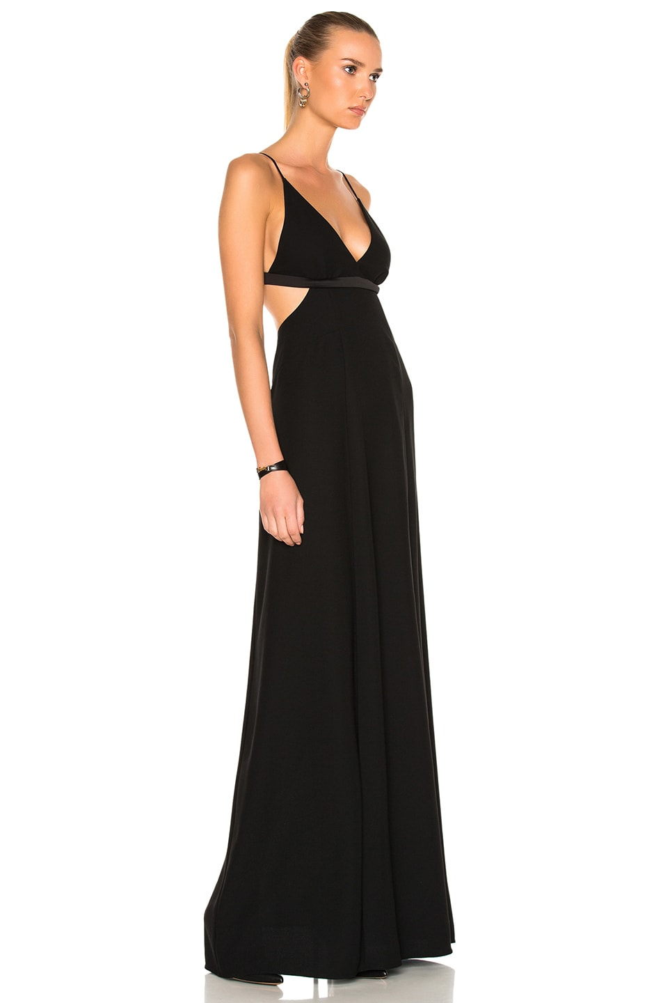 12a5f512 Image 3 of T by Alexander Wang Poly Crepe Triangle Bralette Maxi Dress in  Black
