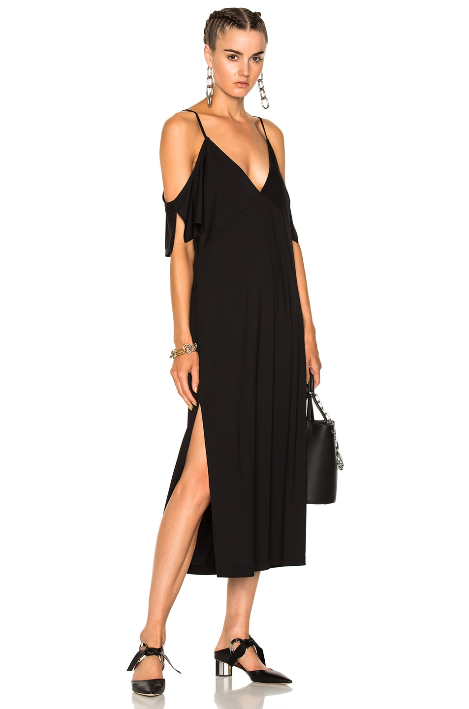 Image 1 of T by Alexander Wang Lux Ponte Cold Shoulder Midi Dress in Black