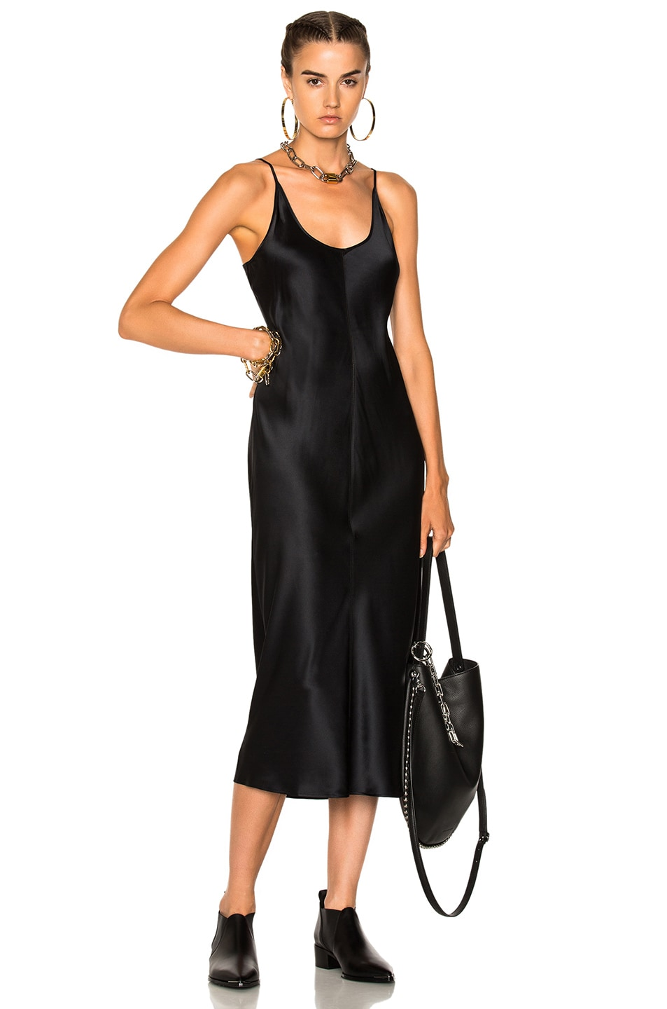 Image 1 Of T By Alexander Slip Dress With Threadwork In Black