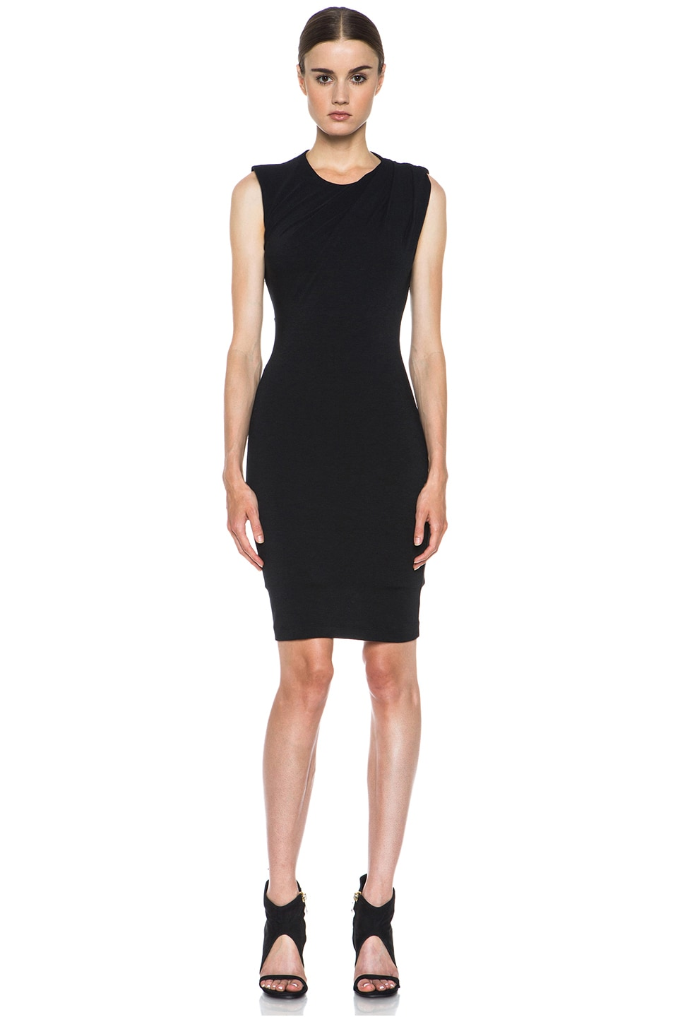 Image 1 of T by Alexander Wang Mohair Jersey Back Slit Drape Dress in Black