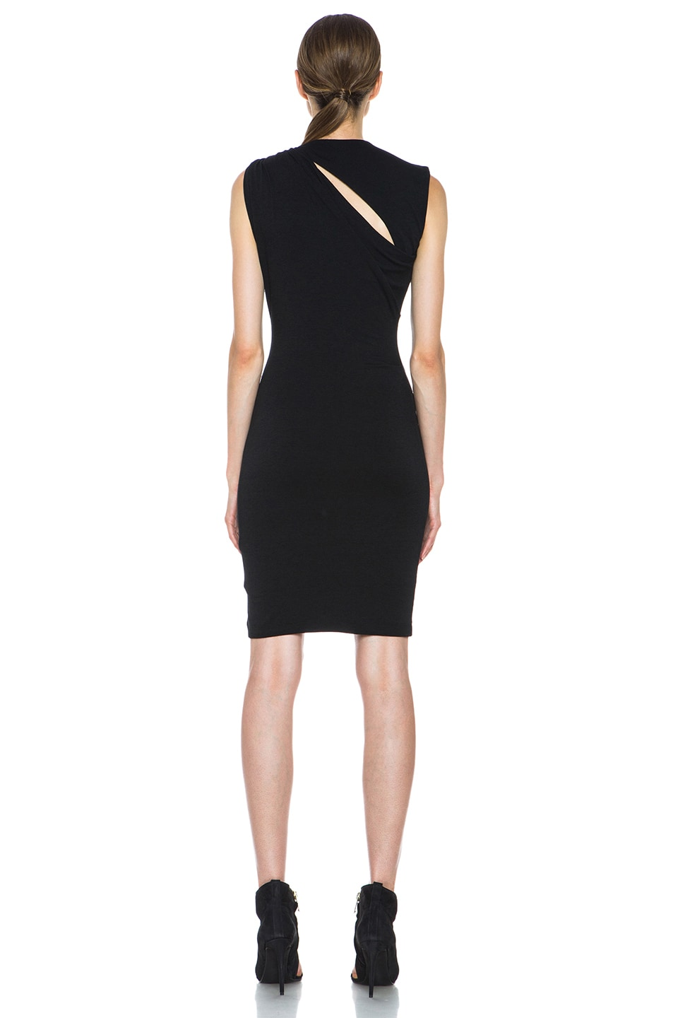 3d9a26e6ebcc Image 4 of T by Alexander Wang Mohair Jersey Back Slit Drape Dress in Black