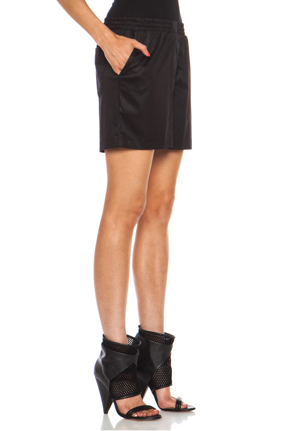 Image 3 of T by Alexander Wang Chintz Cotton Jersey Boxer Shorts in Black