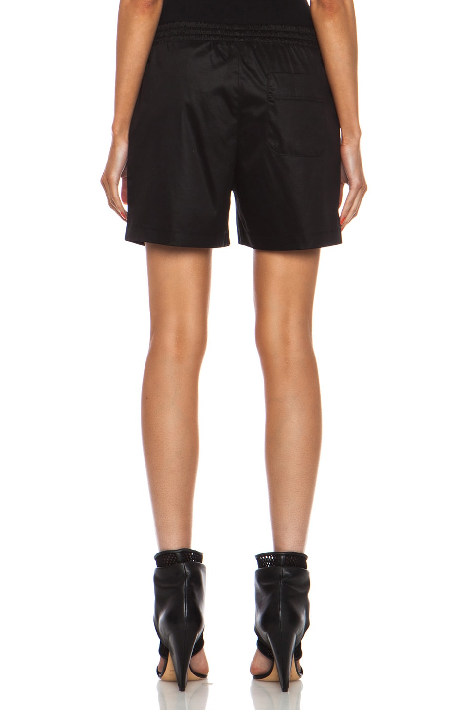 Image 4 of T by Alexander Wang Chintz Cotton Jersey Boxer Shorts in Black