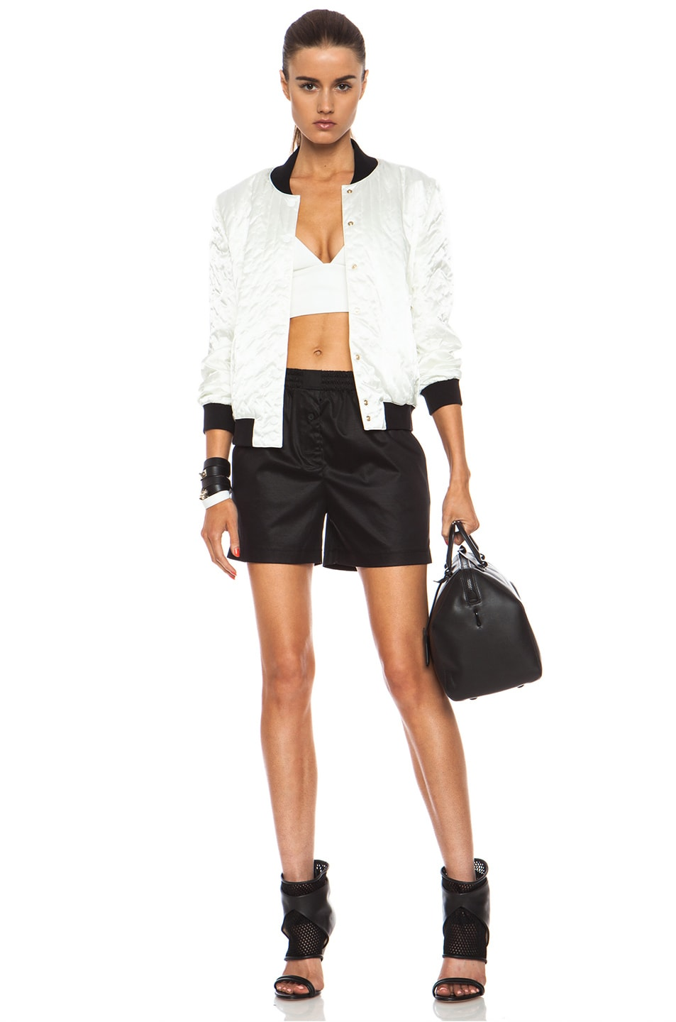 Image 5 of T by Alexander Wang Chintz Cotton Jersey Boxer Shorts in Black