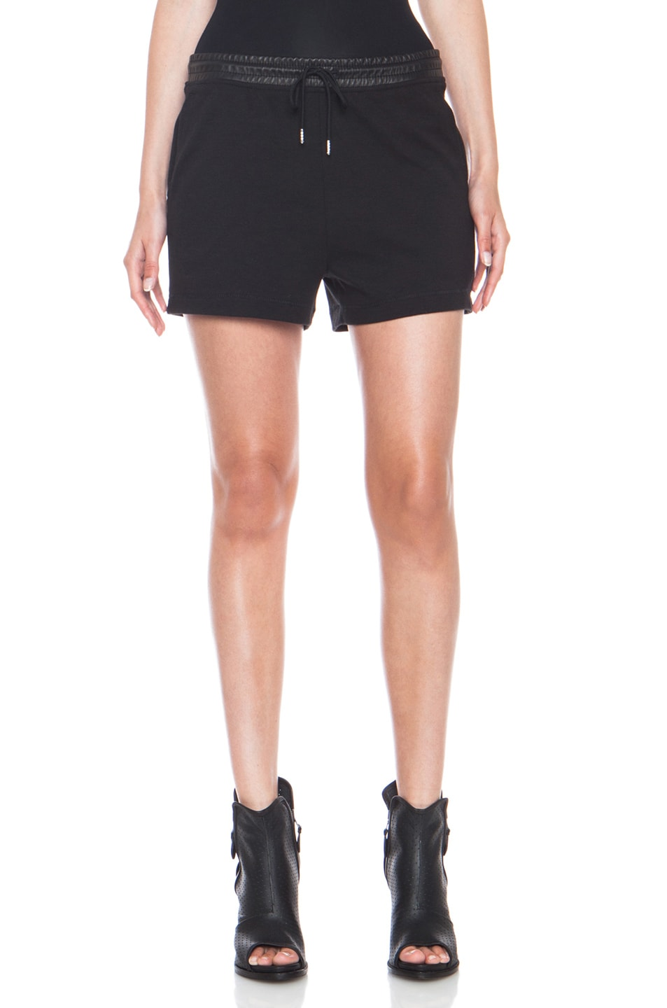 Image 1 of T by Alexander Wang Leather Waistband Sweat Cotton-Blend Shorts in Black