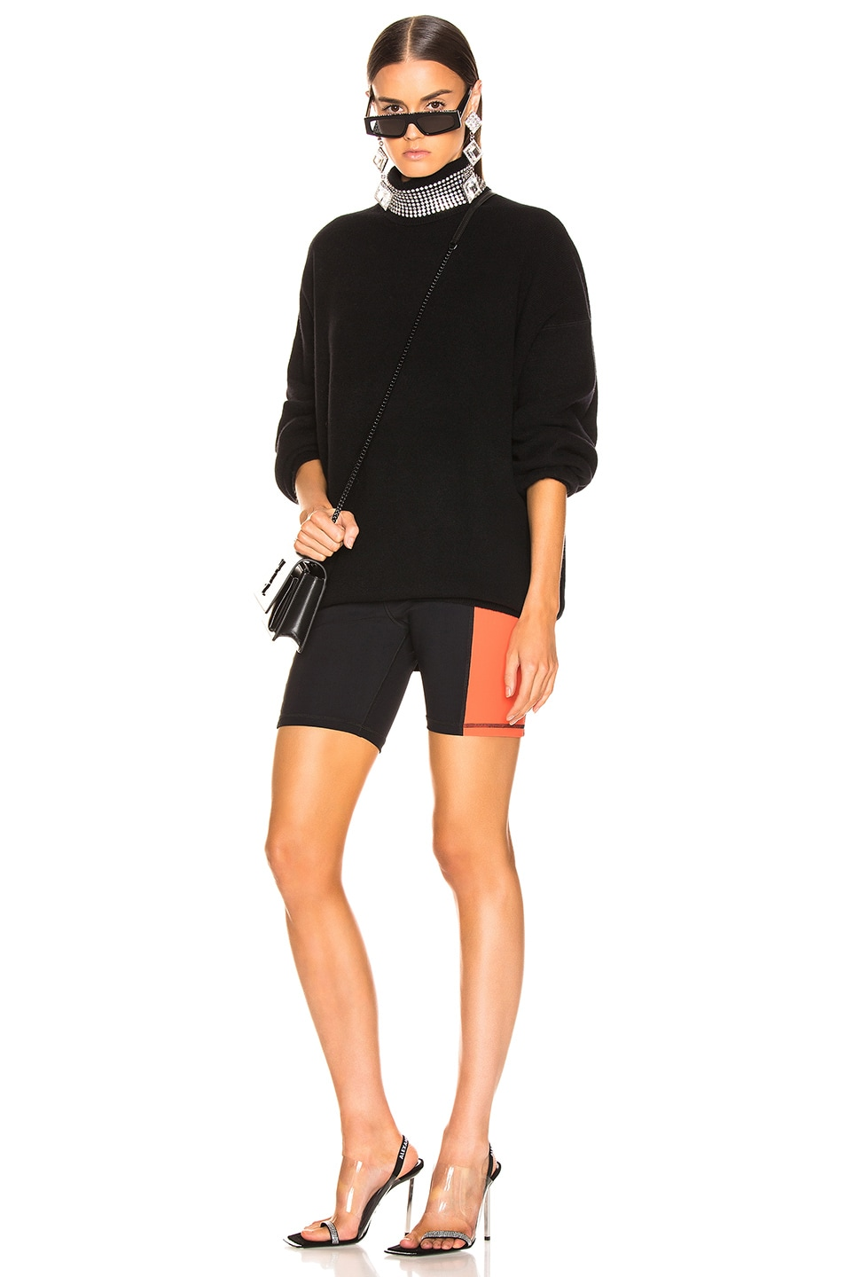Image 5 of T by Alexander Wang Swim Biker Short in Black & Papaya