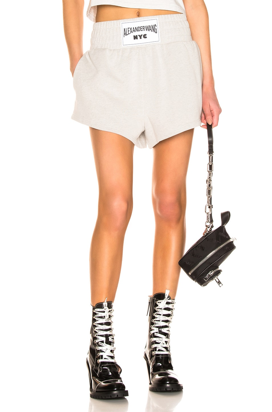 Image 1 of T by Alexander Wang Lightweight Short in Heather Grey