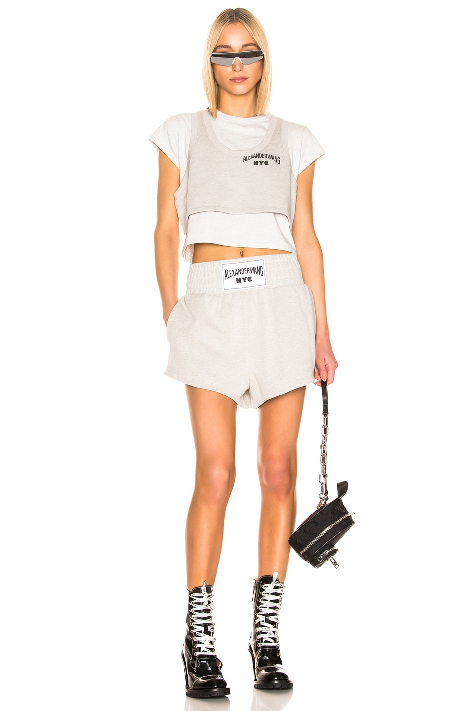 Image 4 of T by Alexander Wang Lightweight Short in Heather Grey