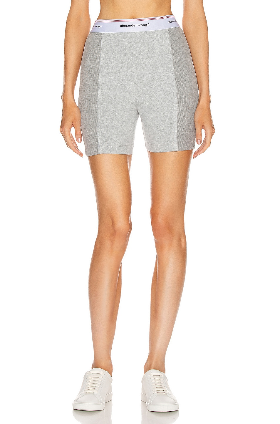 Image 1 of T by Alexander Wang Wash and Go Rib Biker Shorts in Heather Grey