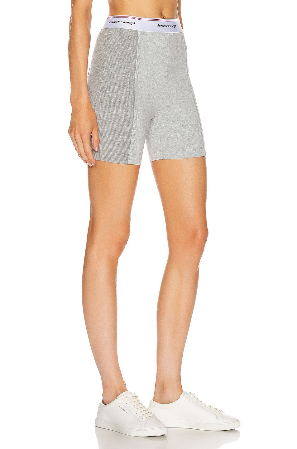 Image 2 of T by Alexander Wang Wash and Go Rib Biker Shorts in Heather Grey