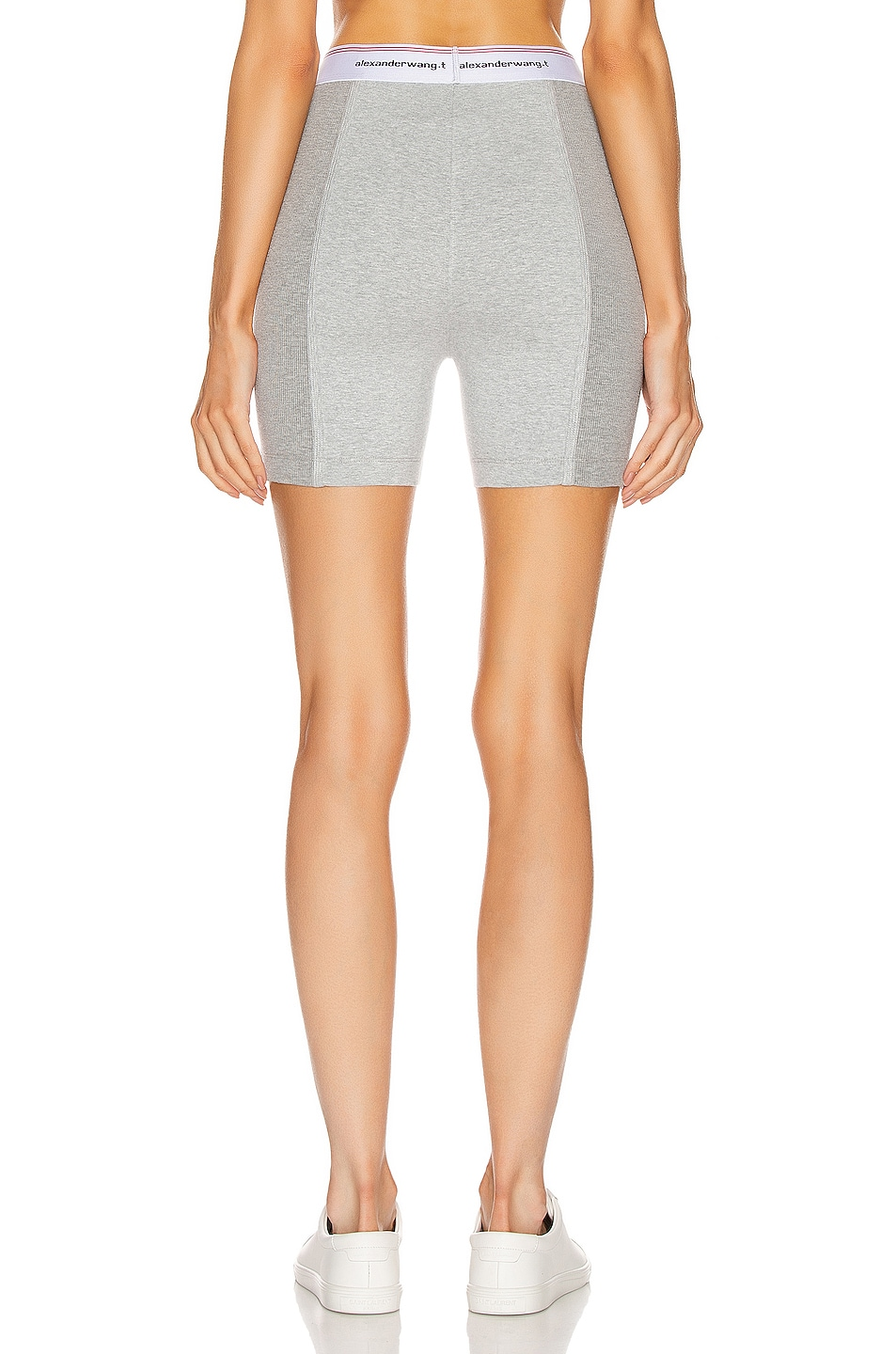Image 3 of T by Alexander Wang Wash and Go Rib Biker Shorts in Heather Grey