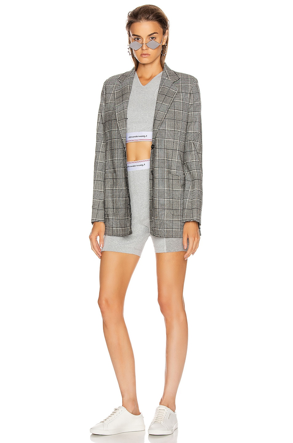 Image 4 of T by Alexander Wang Wash and Go Rib Biker Shorts in Heather Grey