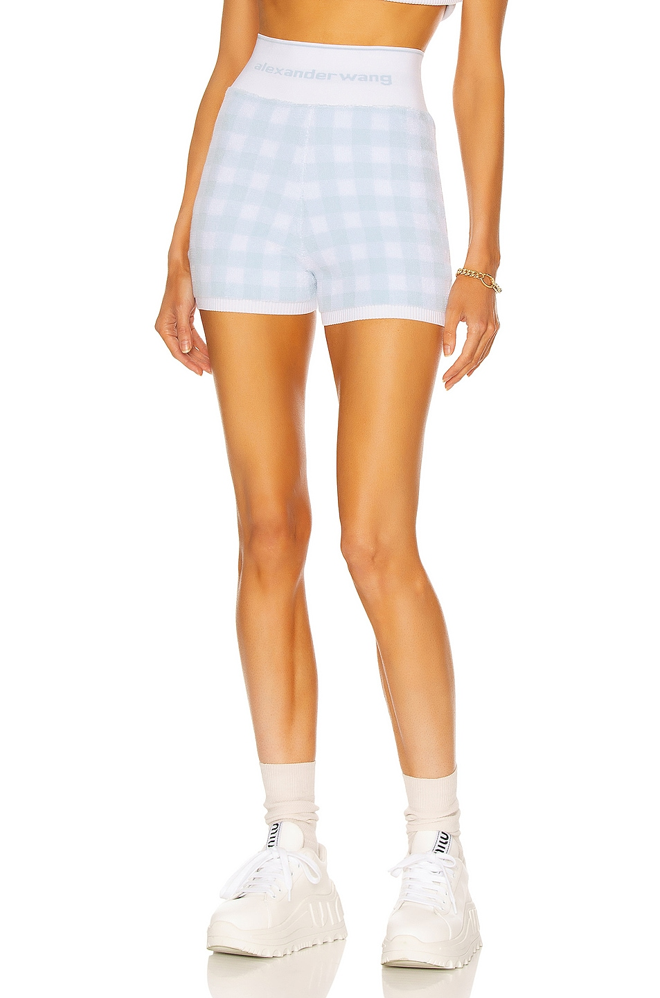 Image 1 of T by Alexander Wang Towel Gingham Short in Oxford Blue & White
