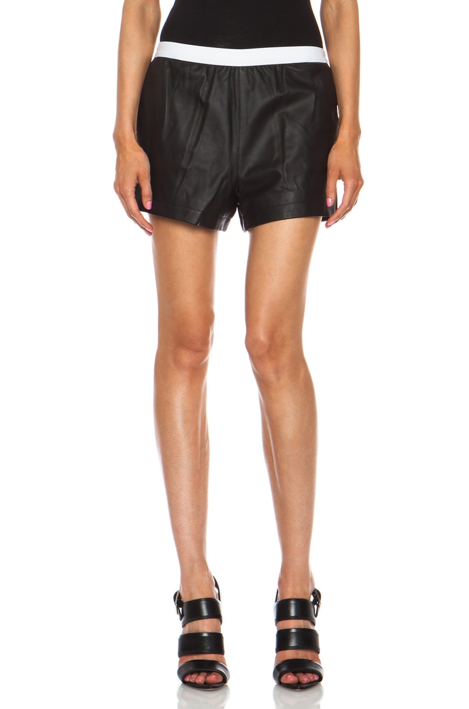 Image 1 of T by Alexander Wang Matte Lamb Shorts in Black