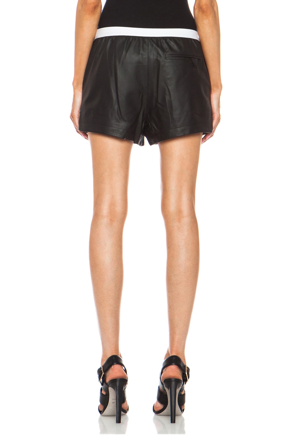 Image 4 of T by Alexander Wang Matte Lamb Shorts in Black