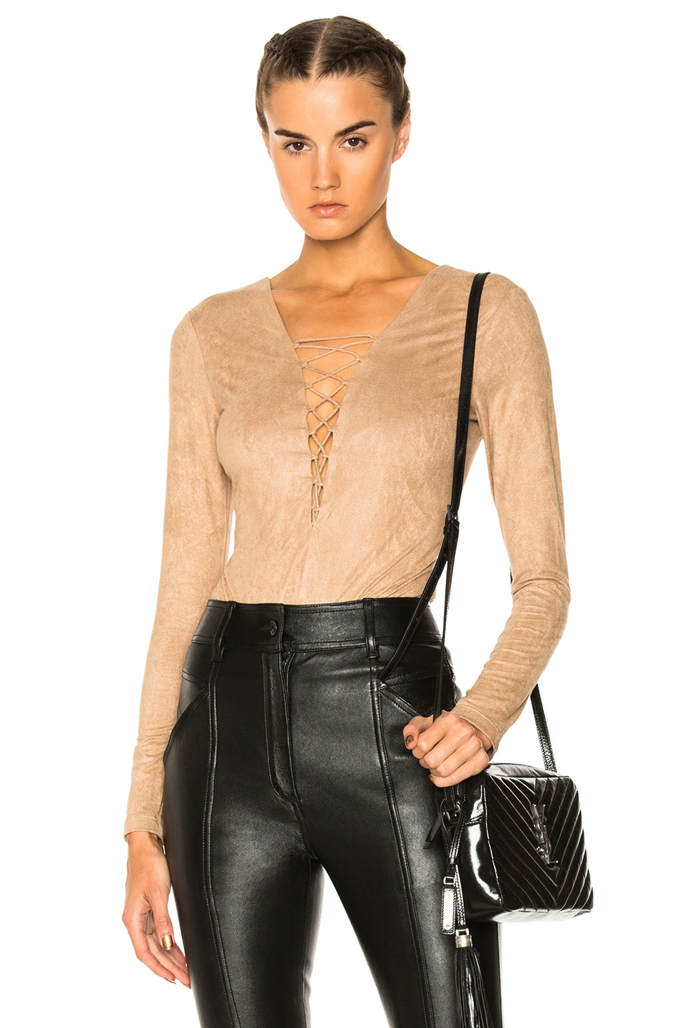 5becb7ad5c Image 1 of T by Alexander Wang Faux Suede Lace Up Bodysuit in Camel