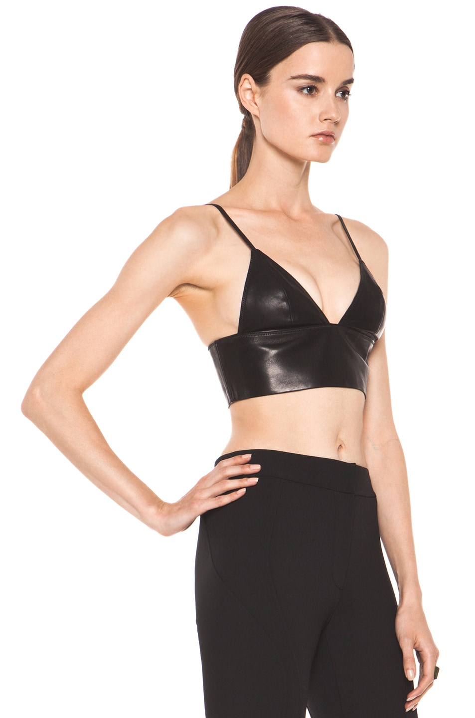 3319fcc1af Image 3 of T by Alexander Wang Leather Triangle Bralette in Black