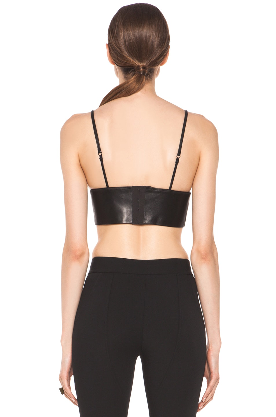 Image 4 of T by Alexander Wang Leather Triangle Bralette in Black