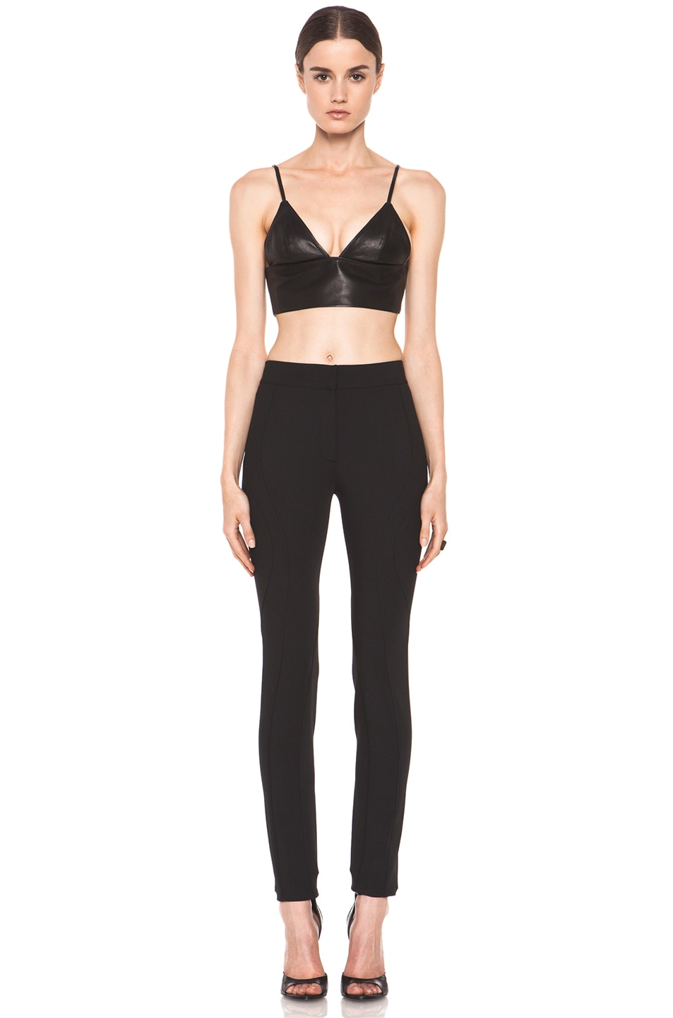 Image 5 of T by Alexander Wang Leather Triangle Bralette in Black