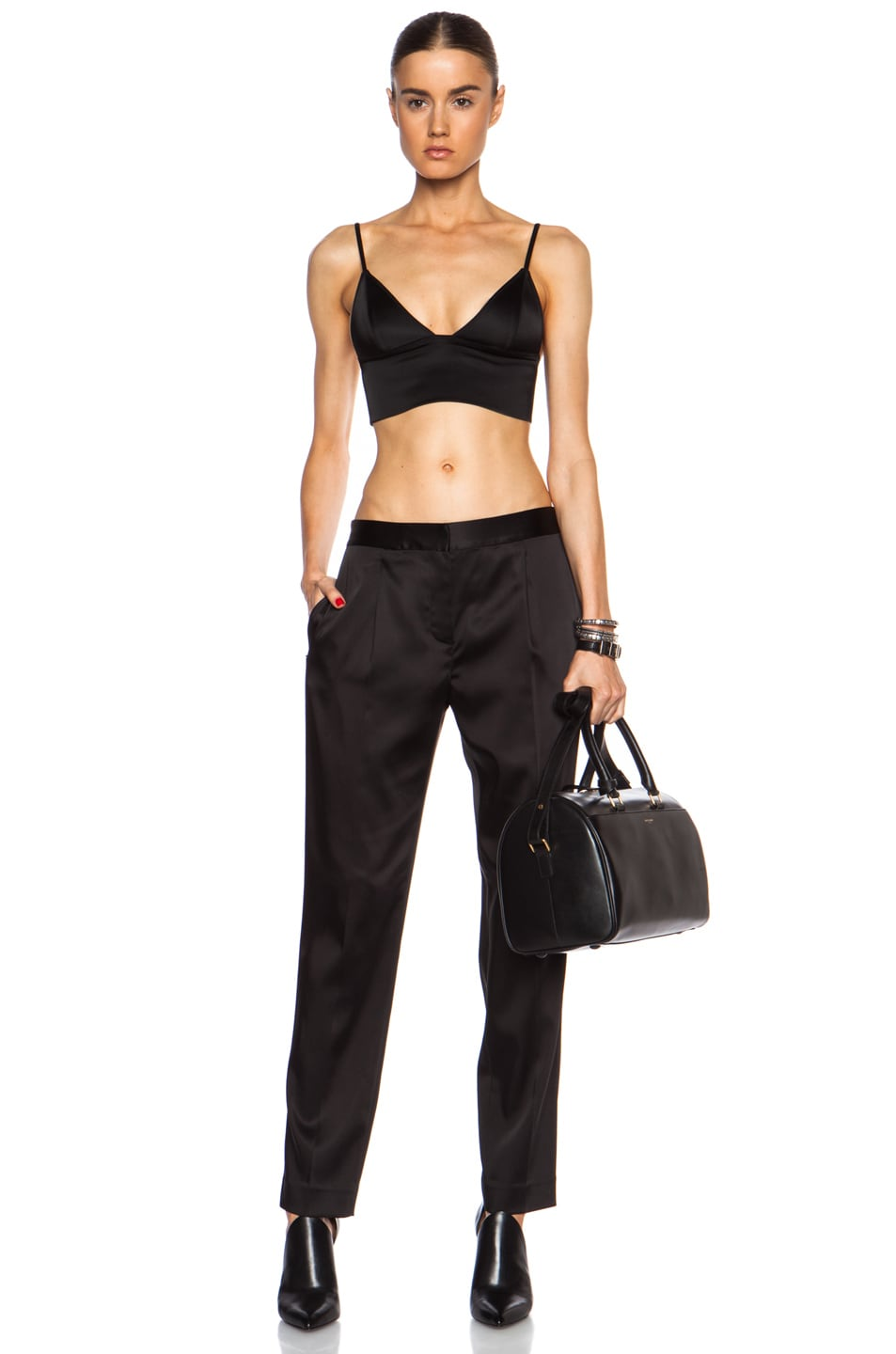 c5262f1f7a4 Image 5 of T by Alexander Wang Satin Triangle Acetate-Blend Bralette in  Black