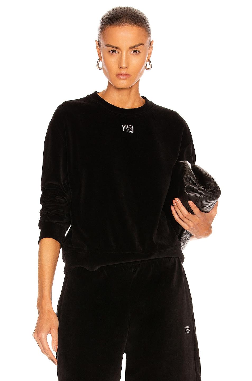 Image 1 of T by Alexander Wang Crewneck Sweatshirt in Black