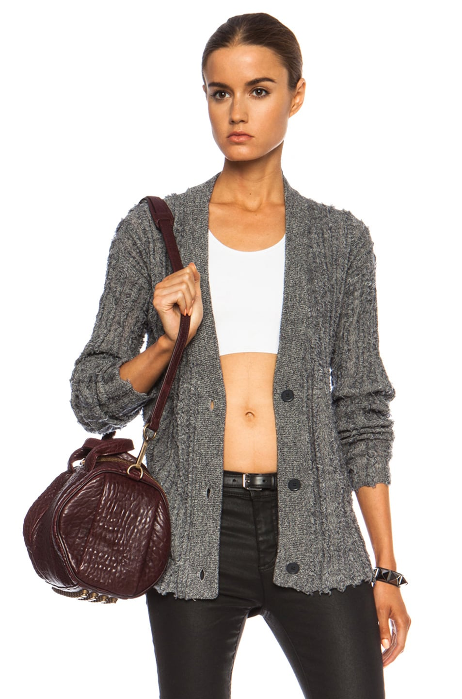 Image 1 of T by Alexander Wang Frayed Stripe Merino Wool Cardigan in Petrol