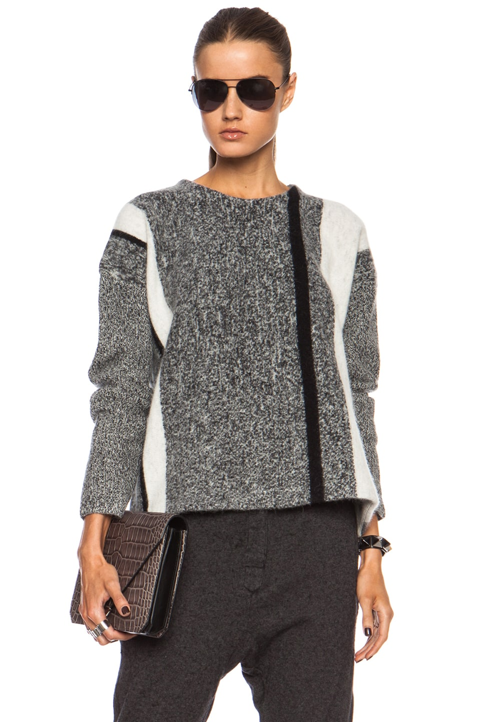Image 1 of T by Alexander Wang Boxy Wool-Blend Pullover in Black & Bone
