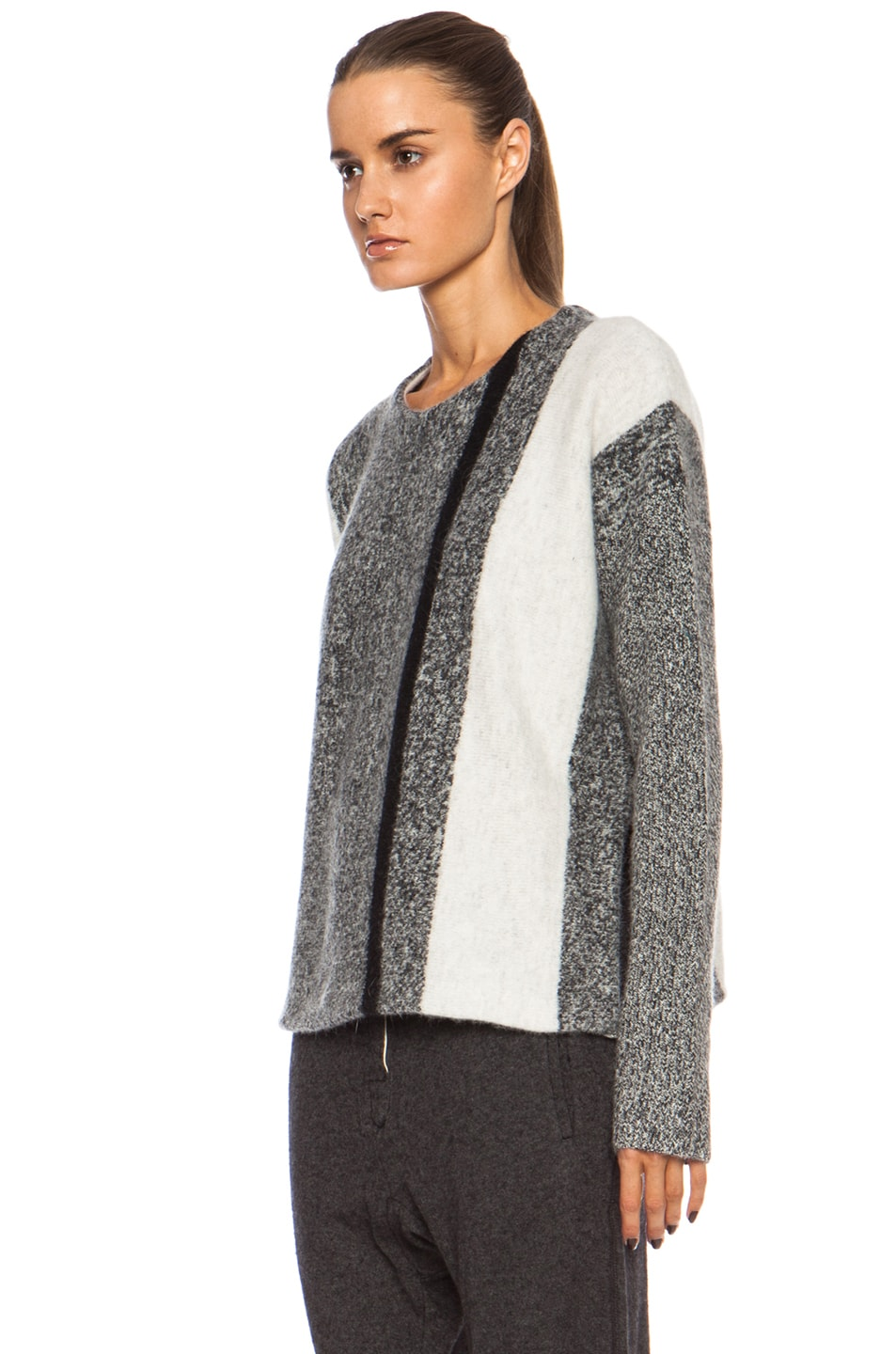 Image 2 of T by Alexander Wang Boxy Wool-Blend Pullover in Black & Bone