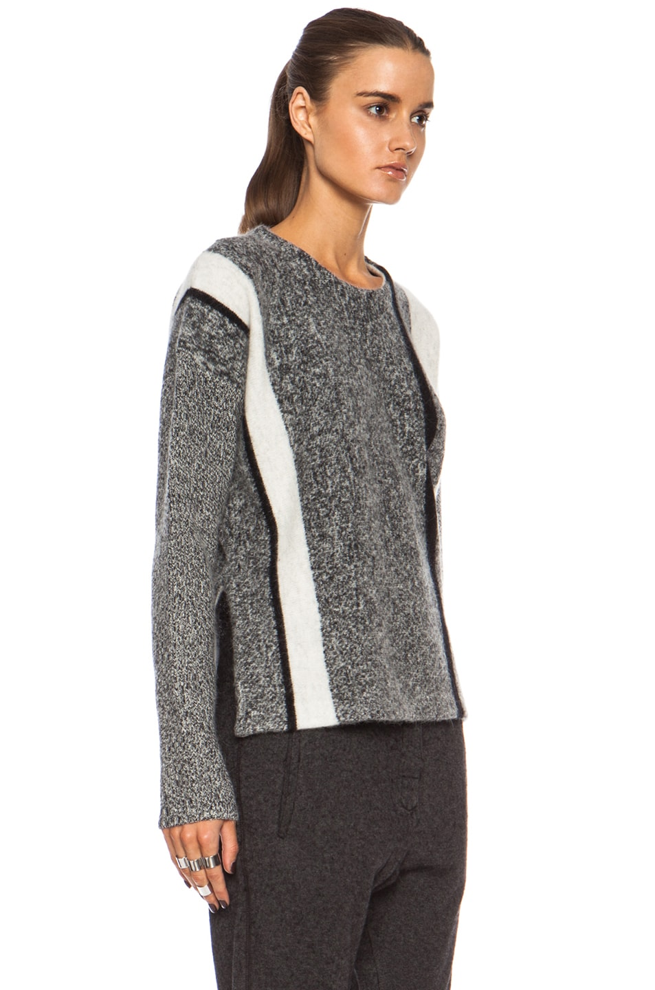 Image 3 of T by Alexander Wang Boxy Wool-Blend Pullover in Black & Bone