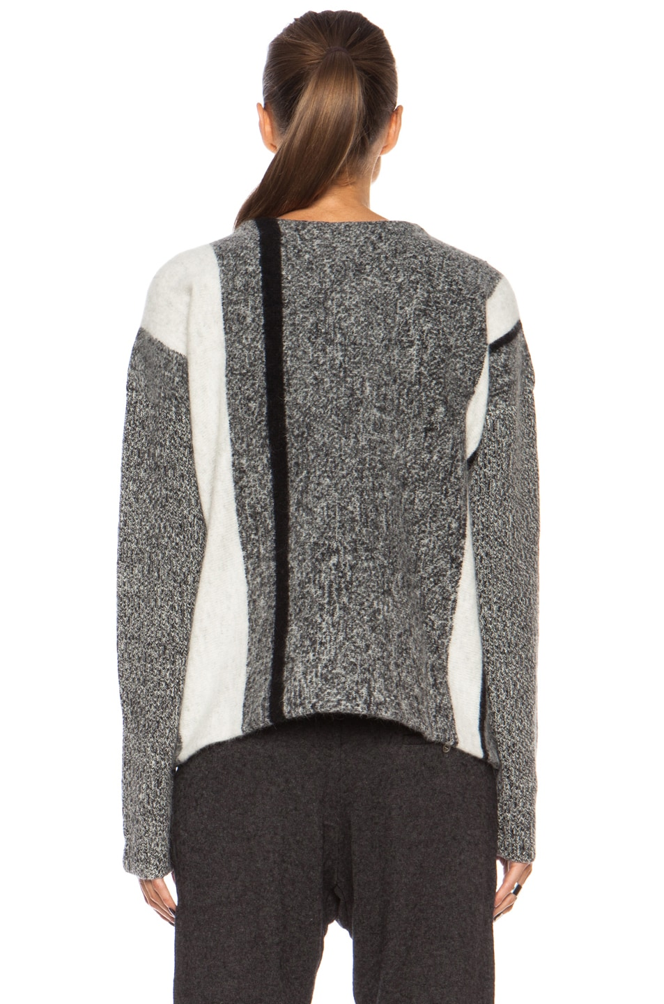 Image 4 of T by Alexander Wang Boxy Wool-Blend Pullover in Black & Bone