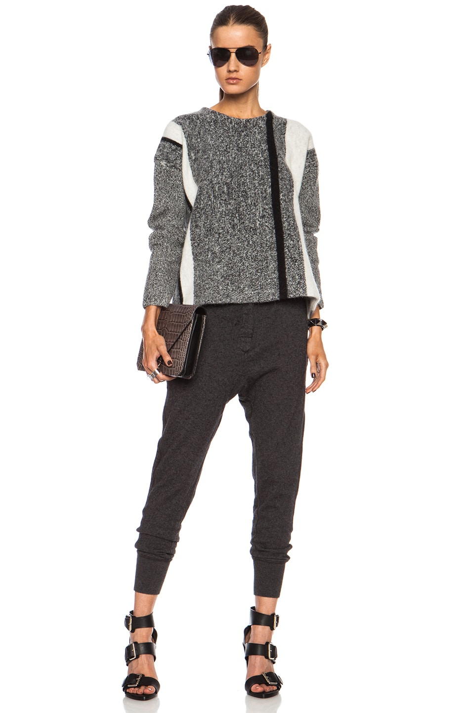 Image 5 of T by Alexander Wang Boxy Wool-Blend Pullover in Black & Bone