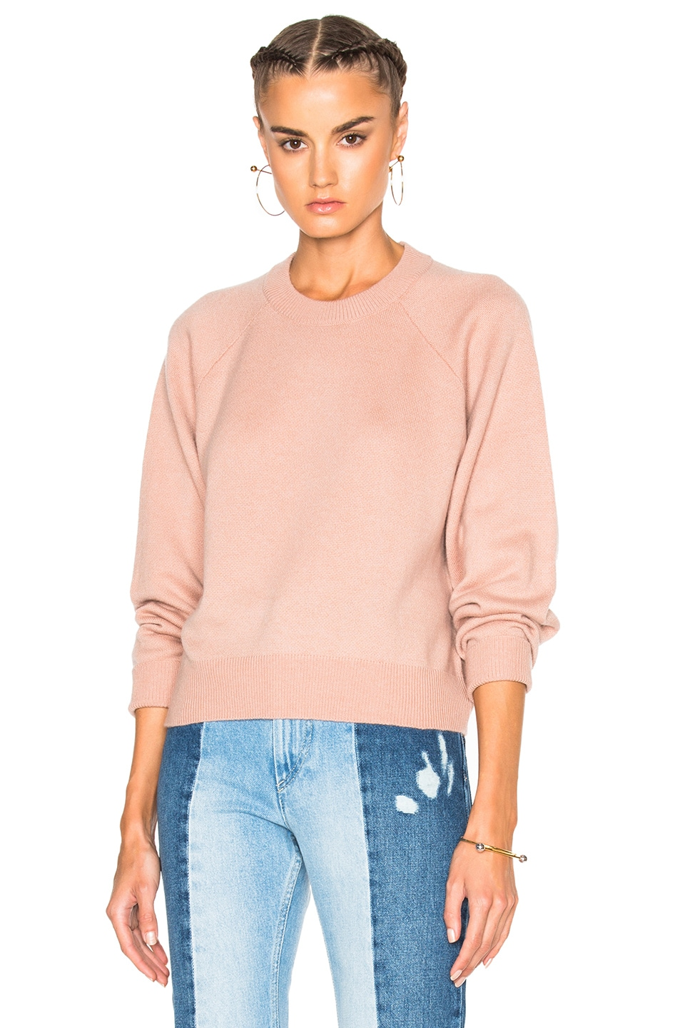 Image 1 of T by Alexander Wang Cashmere Crew Sweater in Peach