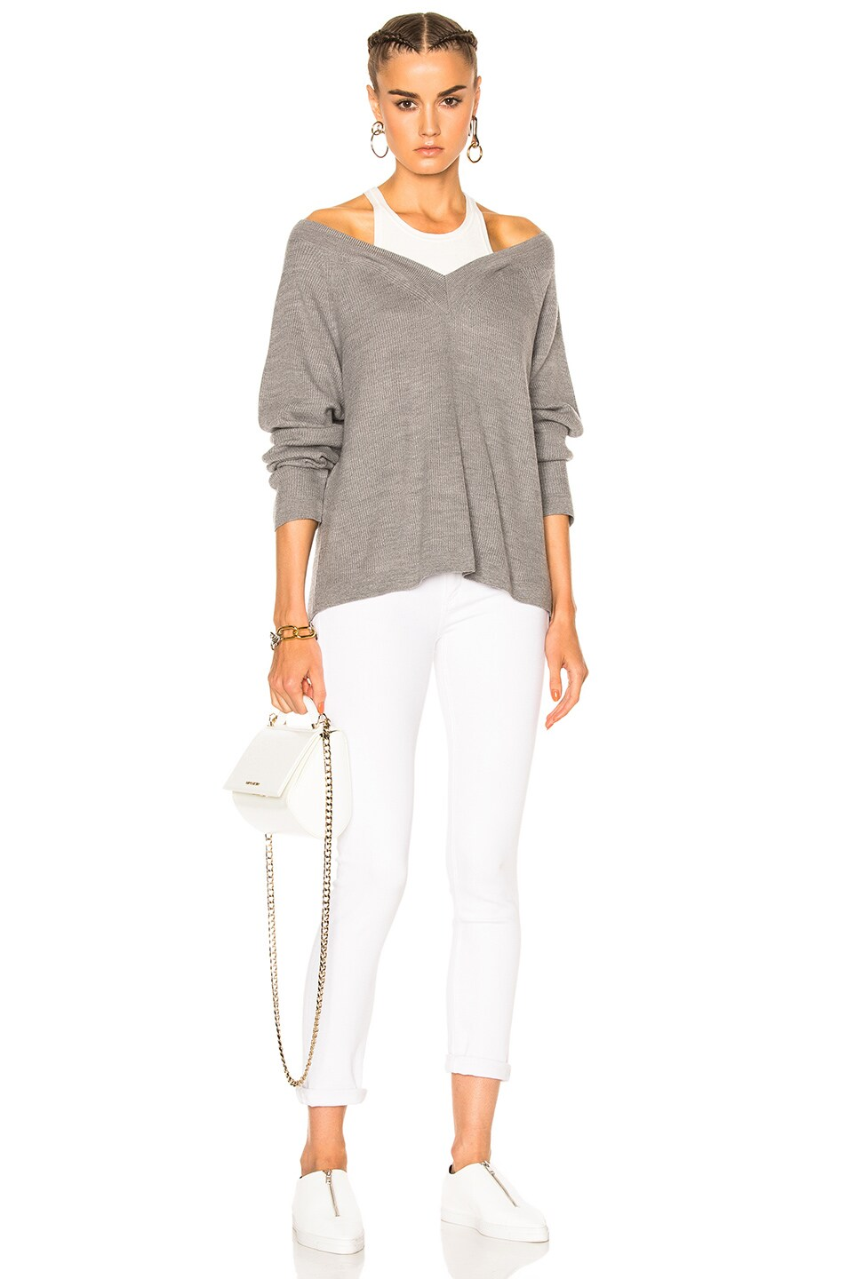 1886f5931 T by Alexander Wang V Neck Sweater with Inner Tank in Heather Grey ...