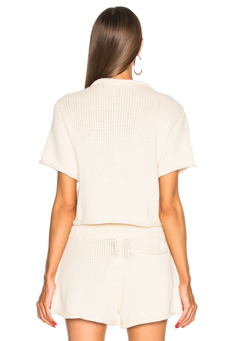 T by Alexander Wang Cropped Short Sleeve Sweater in Ivory | FWRD