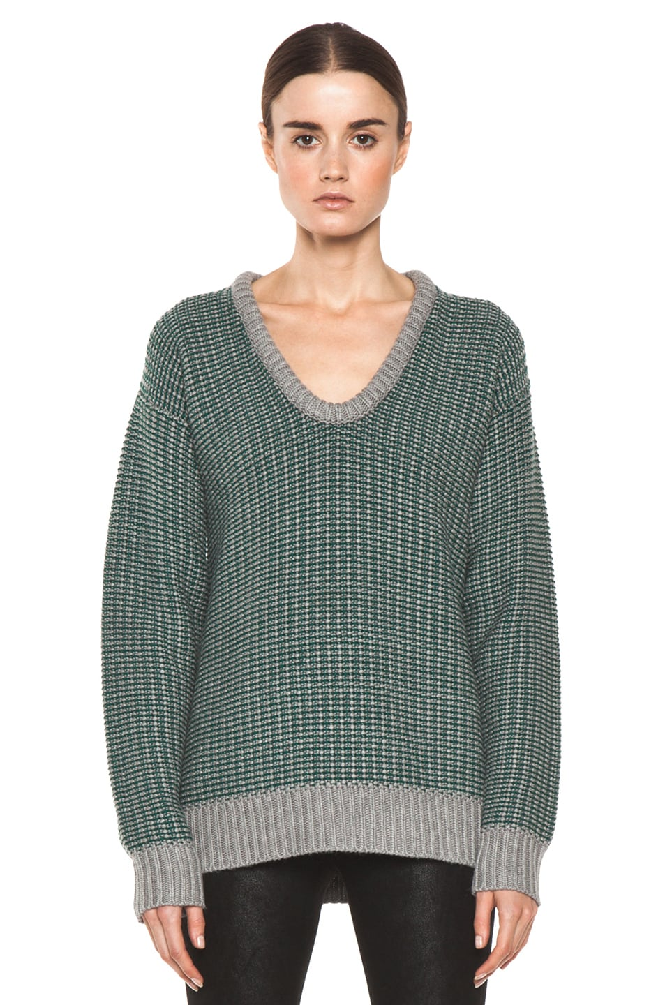 Image 1 of T by Alexander Wang Checkered Float V Neck Dolman in Heather Grey & Vine