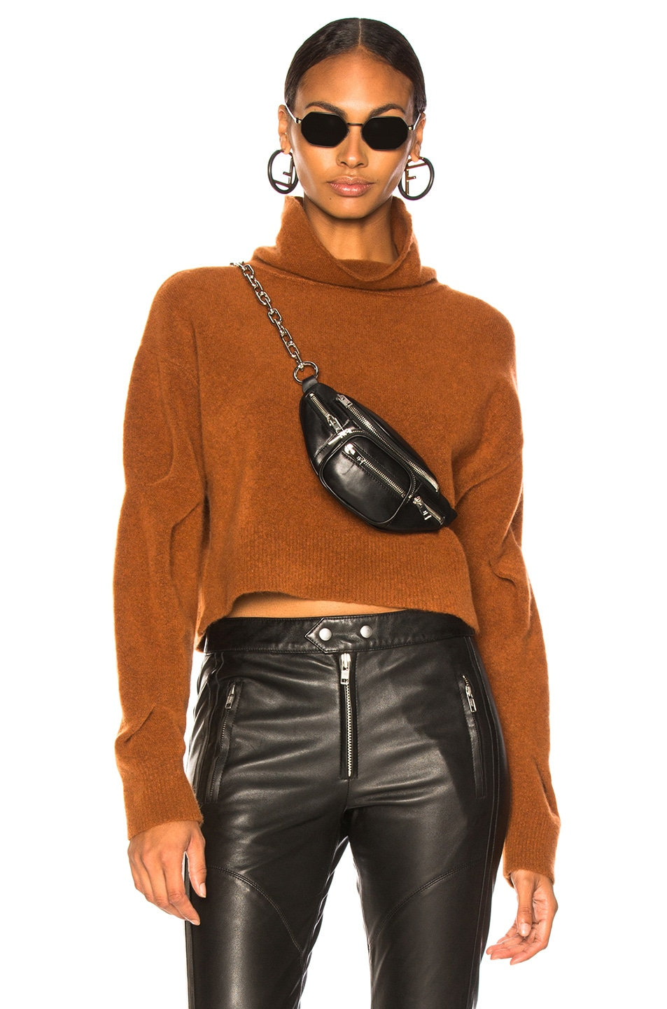 Image 1 of T by Alexander Wang Chunky Cropped Sweater in Camel