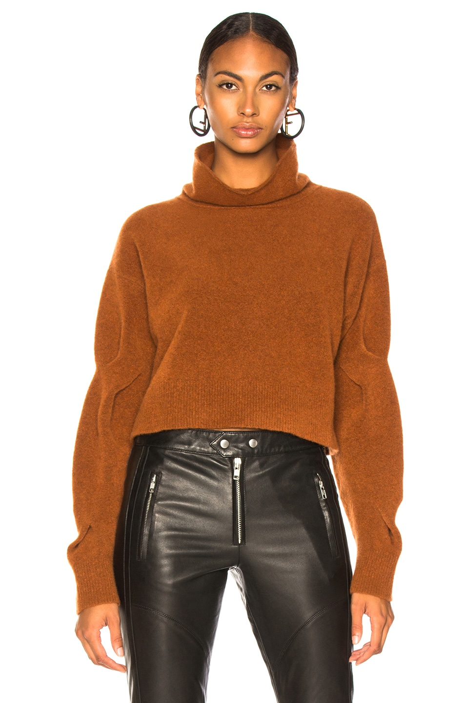 Image 2 of T by Alexander Wang Chunky Cropped Sweater in Camel