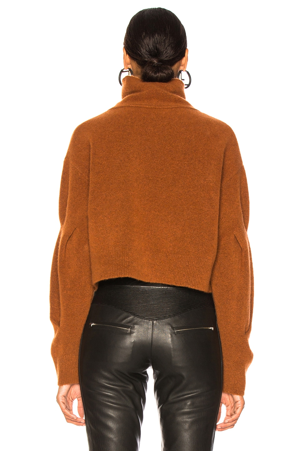 Image 4 of T by Alexander Wang Chunky Cropped Sweater in Camel