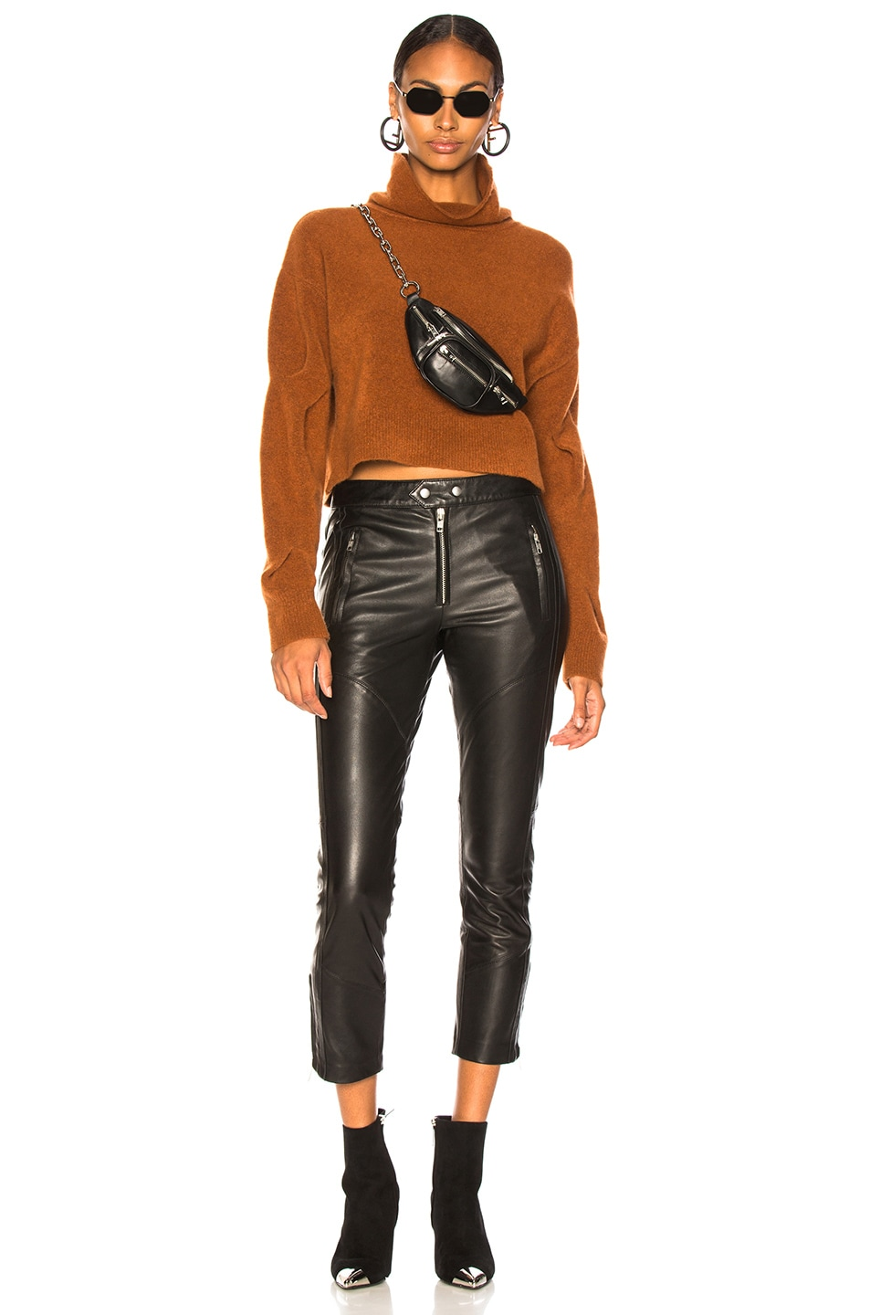 Image 5 of T by Alexander Wang Chunky Cropped Sweater in Camel