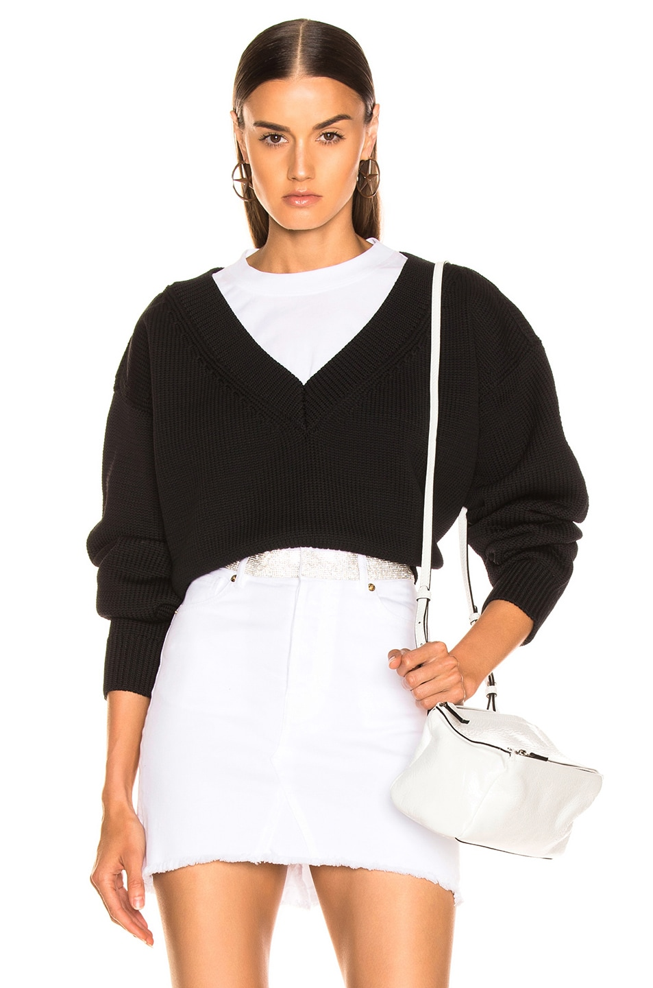 Image 1 of T by Alexander Wang Mix Media Crewneck Sweater in Black
