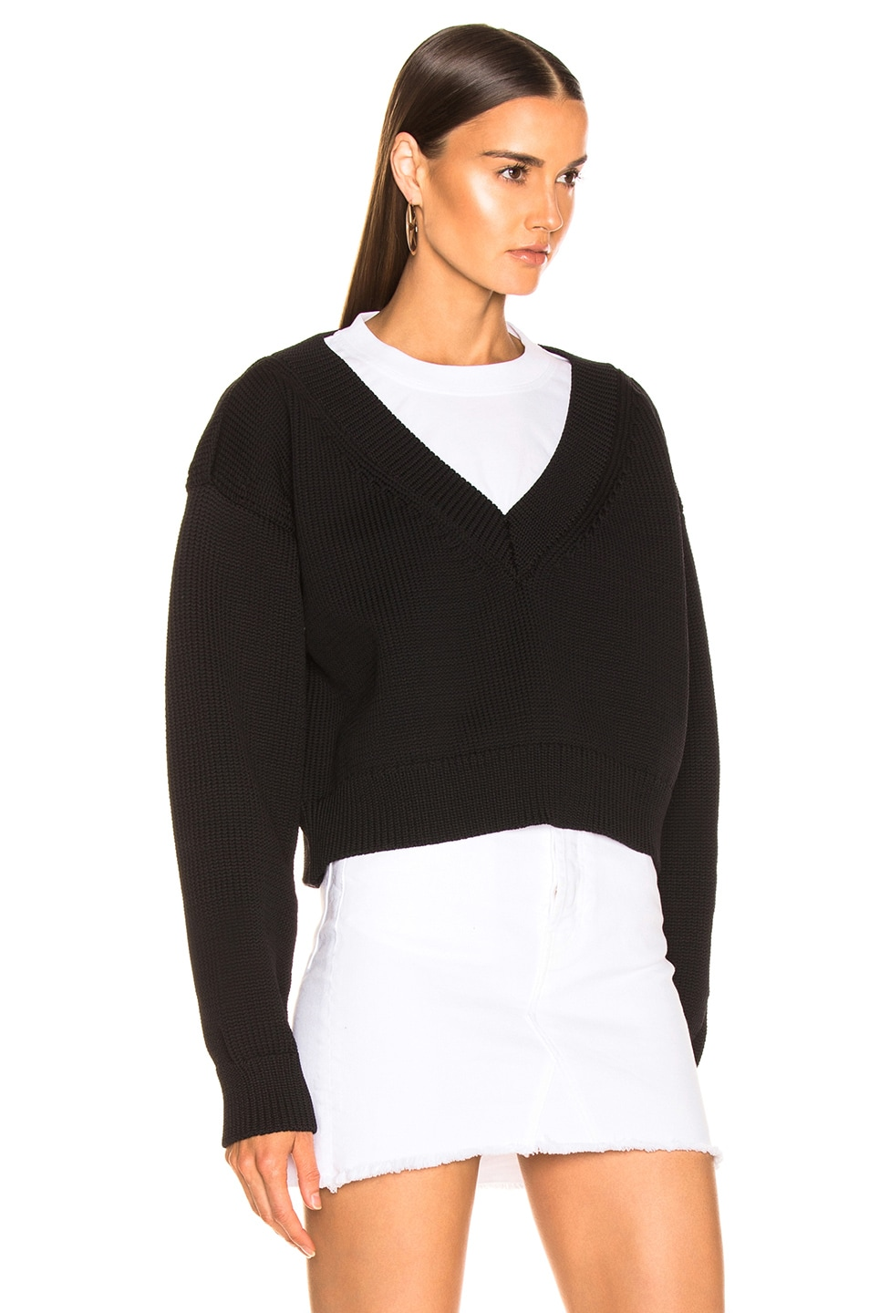 Image 2 of T by Alexander Wang Mix Media Crewneck Sweater in Black