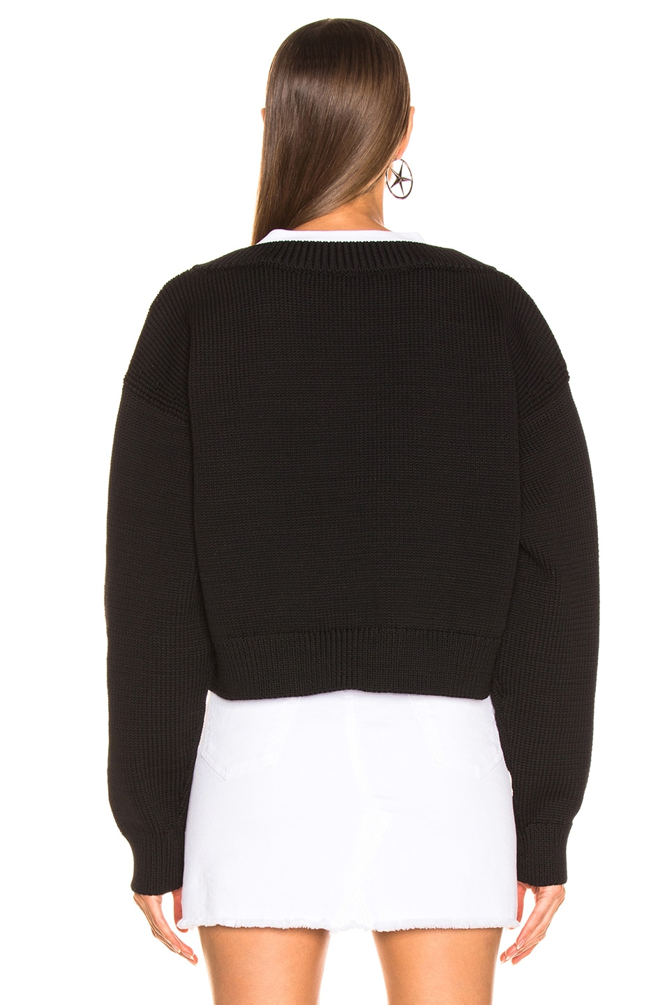 Image 3 of T by Alexander Wang Mix Media Crewneck Sweater in Black