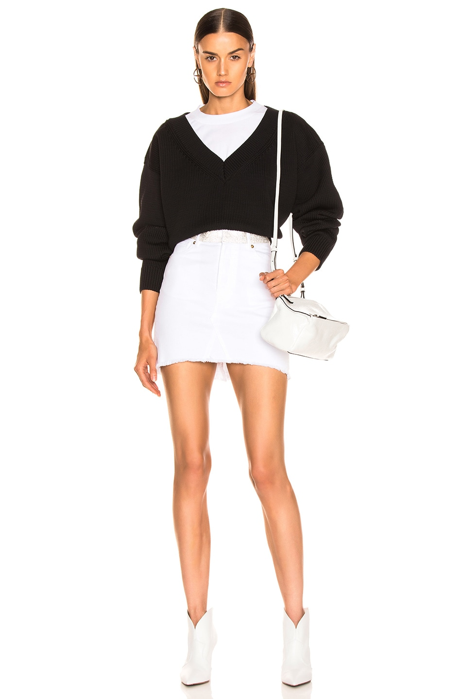 Image 4 of T by Alexander Wang Mix Media Crewneck Sweater in Black